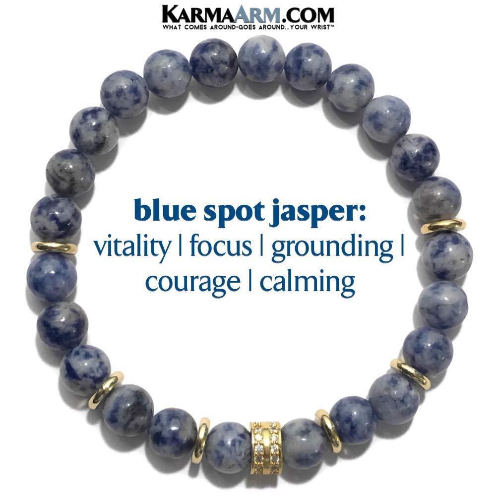 KarmaArm Anxiety Bracelet Gold CZ Diamond Pave Meditation Bracelet Tranquility: Blue Spot Jasper Zen Jewelry