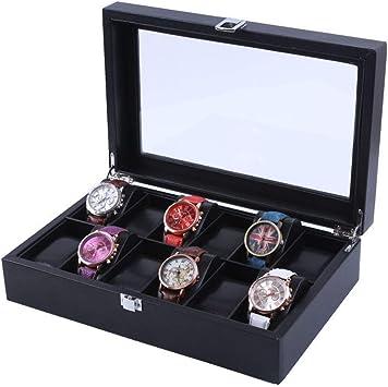 ZAGO Caja de Reloj extraíble Bandeja de la exhibición del Organizador del almacenaje for los Hombres y Caja de Reloj Caja de Cuero Negro Mujeres 12 Soporte para Reloj con Tapa de