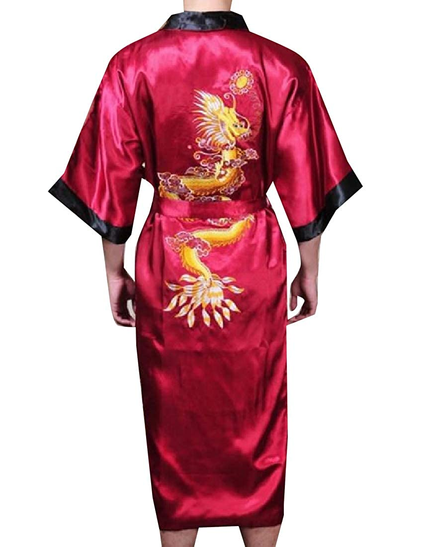 Andopa Men Maxi Embroidery Bathrobe Silky Luxurious Charmeuse Sleepwear