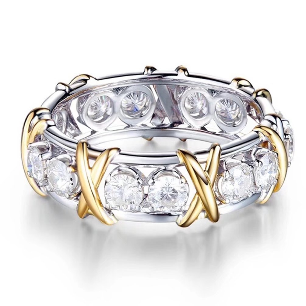 Women's Two Tone White Gold Plated Criss Cross Statement Ring Cubic Zirconia CZ Eternity Engagement Wedding Band Size 7