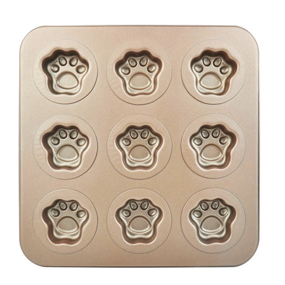 BETOP HOUSE Durable 9-Cup Nonstick Gold Cute Mini Cat Pawn Cake Pan Mold