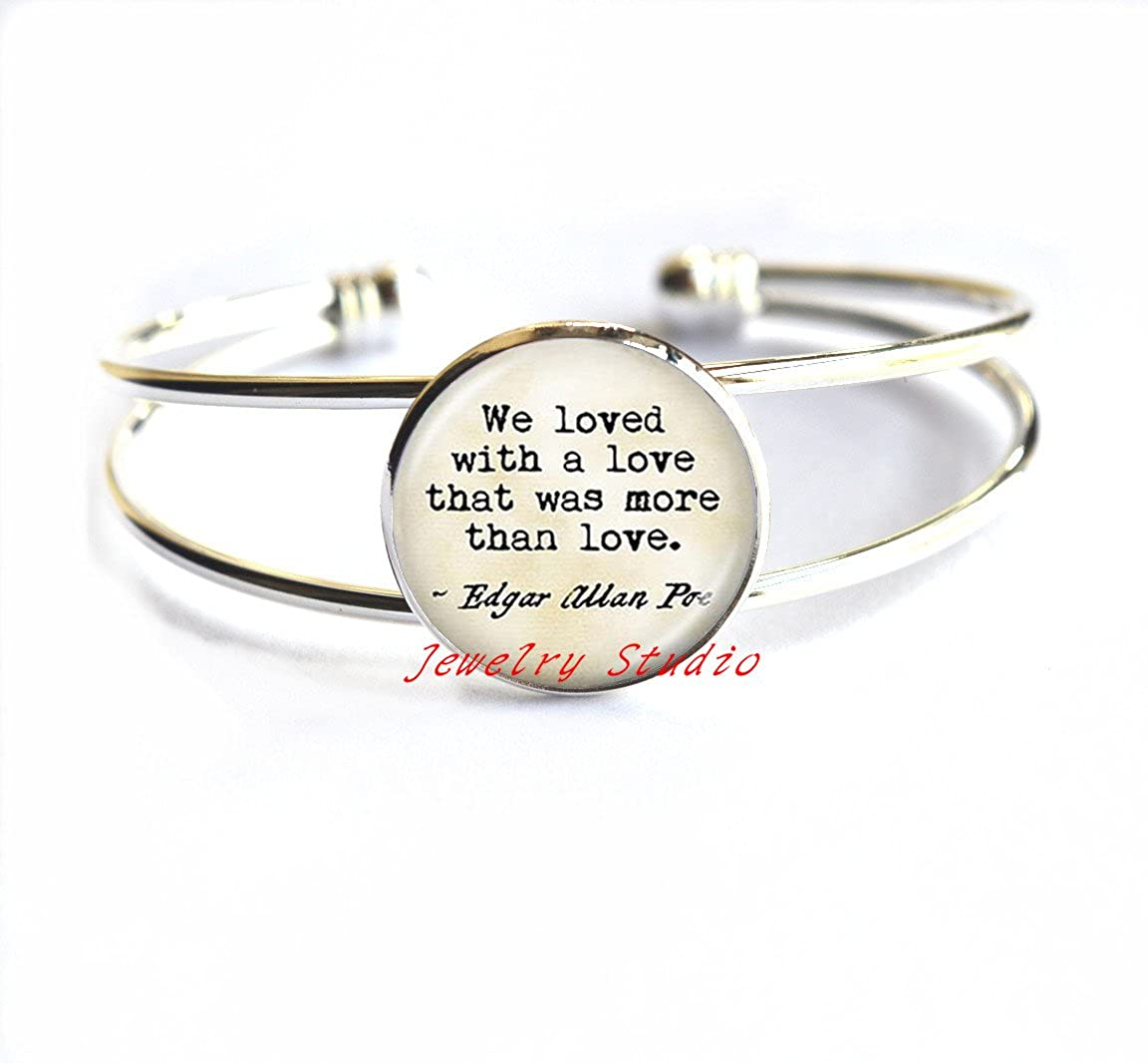 We Loved With a Love that Was than Love Letter Bracelet Word Jewelry Cabochon Bracelets,Literary Quote Jewelry Love Poem Jewelry Love Quote Bracelets-HZ00147