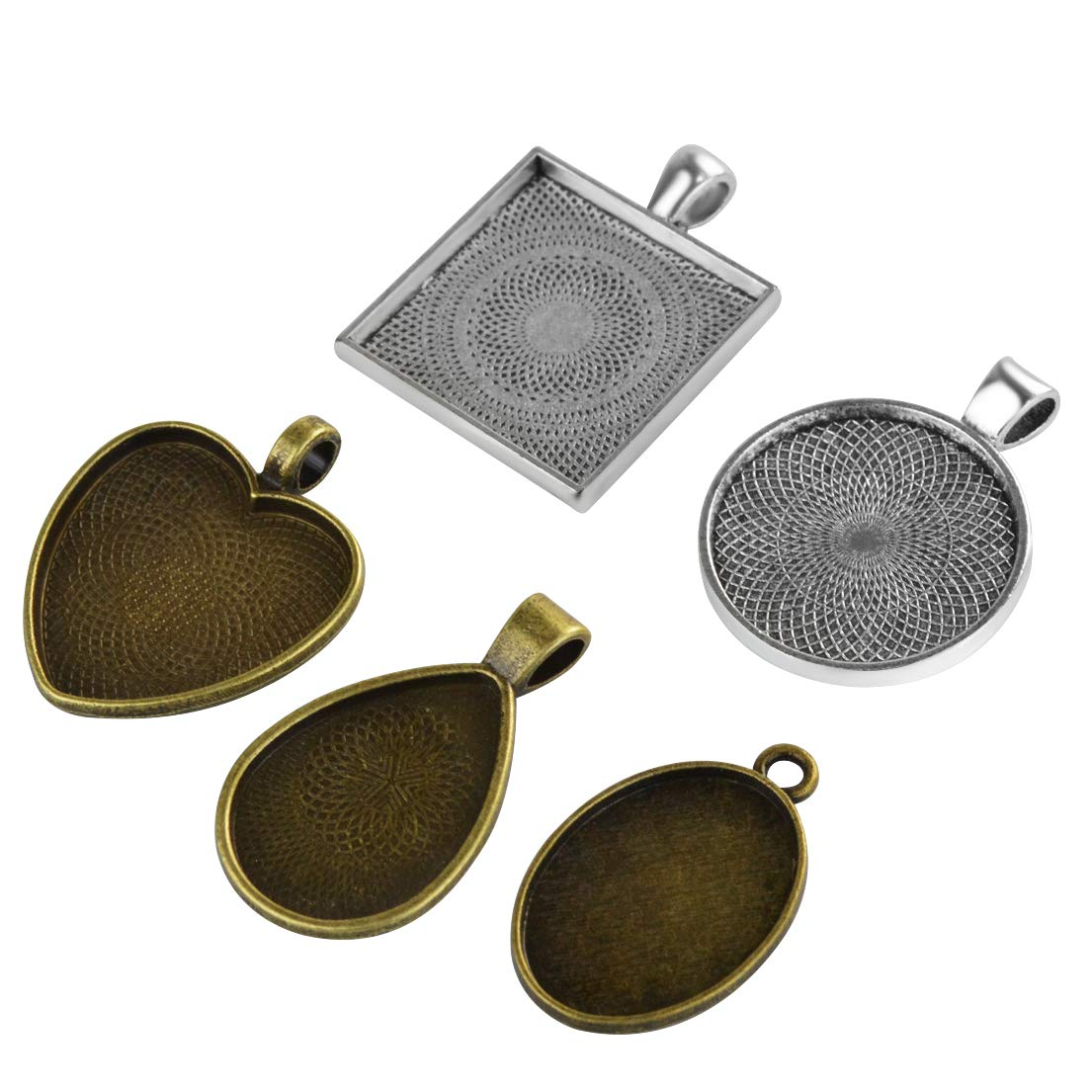 Yolyoo 40-Pieces 5 Styles Pendant Trays - Round & Square & Heart & Teardrop & Oval for Crafting DIY Jewelry Gift Making