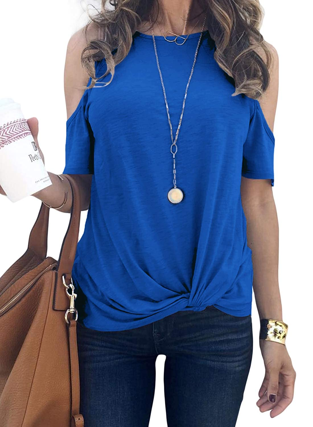 Elapsy Womens Casual Crew Neck Cold Shoulder Tops Front Twist T Shirt Blouses