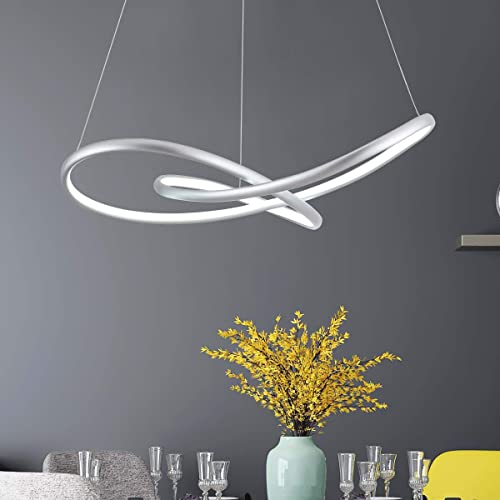 MADEM Modern LED Chandelier Dimmable Chic Circular LED Pendant Light Adjustable Irregular Pendant Lighting Contemporary Chandelier