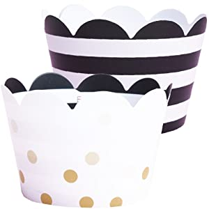 Wedding Cupcake Wrappers - 36 Black and White Striped Cup Cake Holder, Bachelorette Party Supplies, Champagne Gold Polka Dot Anniversary, Great Gatsby Theme Party Decoration, 50th Birthday for Adult