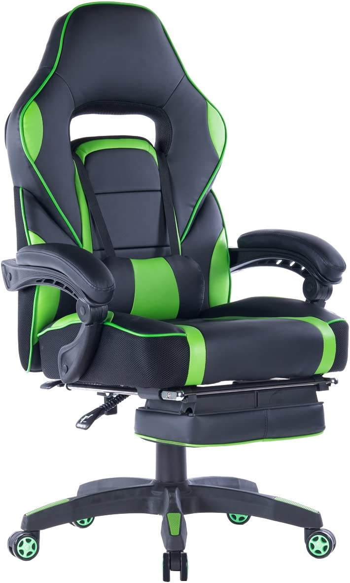 Giantex Ergonomic Gaming Chair, High-Back Racing Chair PU Leather with Retractable Footrest and Lumbar Support Adjusting Swivel Office Chair for Women Men Green