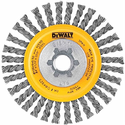 DEWALT DW4930 4-Inch by 5/8-Inch-11 Full Cable Twist Wire Wheel/Carbon Steel .020-Inch