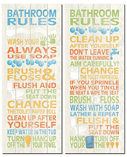 Bathroom Rules (Fun Popular Bathroom Rules Typography Set; Two 8x18in Poster Prints)
