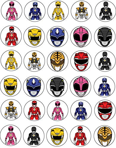 (30 x Edible Cupcake Toppers - Power Rangers Themed Collection of Edible Cake Decorations | Uncut Edible Prints on Wafer Sheet)