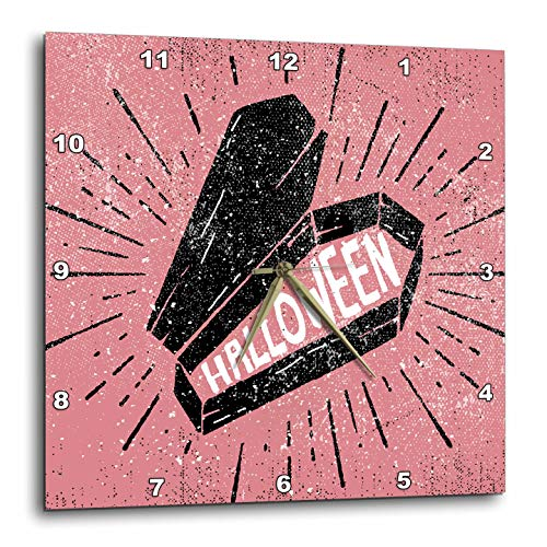 3dRose Sven Herkenrath Celebration - Happy Halloween with Pink Background and Casket - 15x15 Wall Clock (DPP_294692_3) -