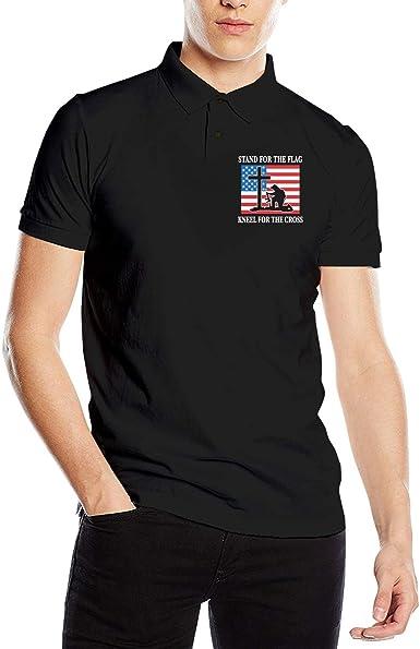 Stand for The American Flag Kneel for The Cross Mens Short Sleeve Polo Shirt Regular Blouse Sport Tee