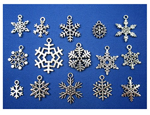 ALL in ONE 30pcs (15 styles) Mixed Antique Silver Snowflake Christmas Charms Pendants