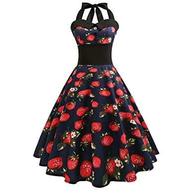 NDJqer Women Casual Floral 50s 60s Retro Vintage Dress Robe Rockabilly Swing Pinup Vestidos WQ1031-