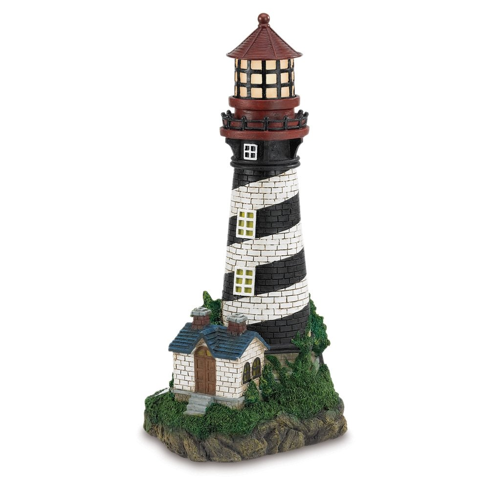 Amazon.com : Gifts U0026 Decor Solar Powered Outdoor Garden Lighthouse : Outdoor  Figurine Lights : Garden U0026 Outdoor