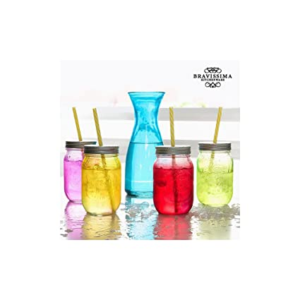 Botella con 4 Tarros de Vidrio Vintage Colors Bravissima Kitchen