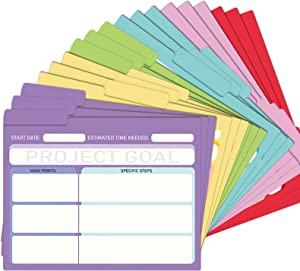 EOOUT 18 Pack Project File Folders with Tabs, Colored File Folders, Manila, Notes File Folders, Letter Size, 6 Assorted Colors, 11.5x9.5inch, 1/3 Cut, for Students/Office Supplies