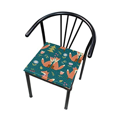 "Bardic HNTGHX Outdoor/Indoor Chair Cushion Funny Fox Flower Square Memory Foam Seat Pads Cushion for Patio Dining, 16"" x 16"": Home & Kitchen"