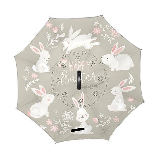 ALAZA círculo de conejo de Pascua Conejo flores paraguas invertido doble capa resistente al viento en el reverso paraguas: Amazon.es: Deportes y aire libre