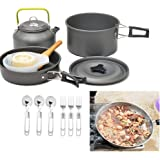 Camping Cookware Set,Hamkaw Nonstick,Portable Cooking Mess Kit with Pot Pan Coffee Pot and Folding Fork Spoon,Dishcloth,Mesh Bag - Backpacking, Hiking, Picnic