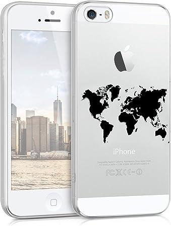 Kwmobile Hülle Kompatibel Mit Apple Iphone Se 1 Gen 2016 5 5s Handyhülle Handy Case Travel Umriss Schwarz Transparent Elektronik