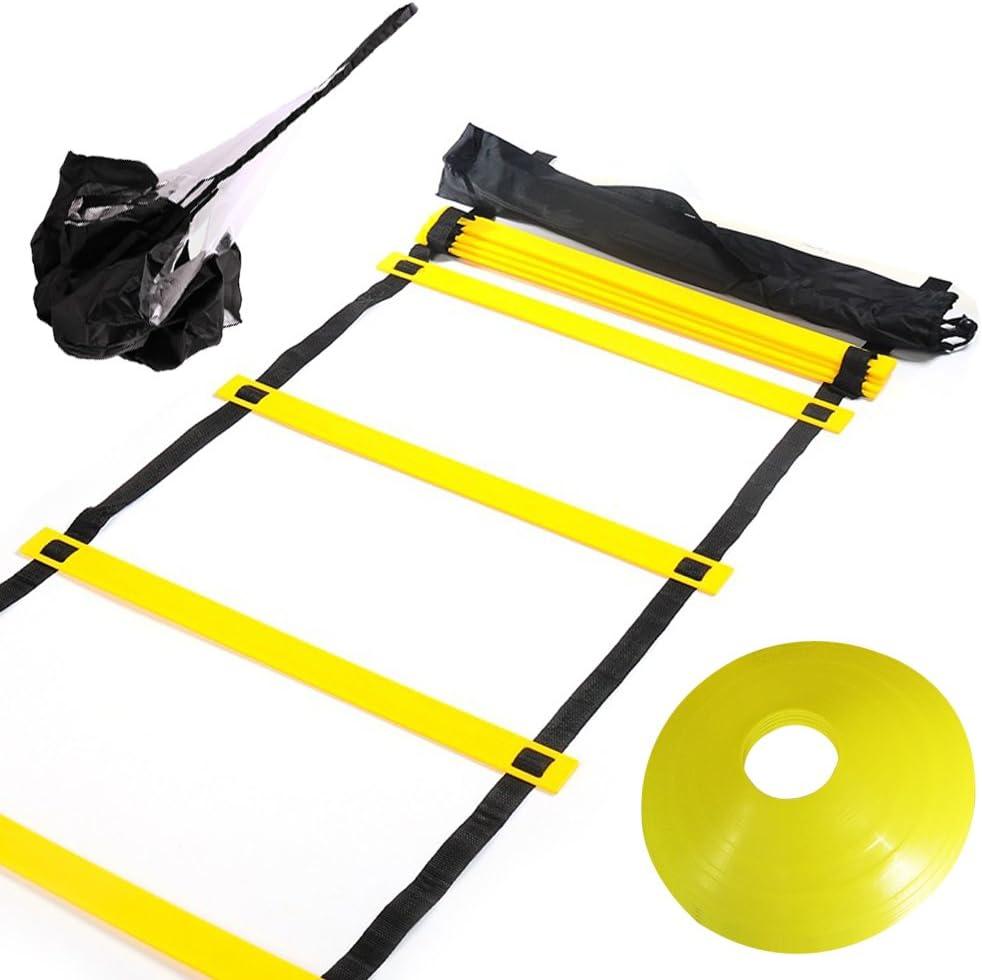 set de escaleras de agilidad y otros elementos para entrenamientos y circuitos físicos