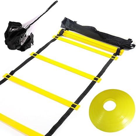 Huvai - Escalera de entrenamiento de agilidad con paracaídas de resistencia de 6 m, 12 peldaños con conos de disco amarillos, una bolsa de transporte: Amazon.es: Deportes y aire libre