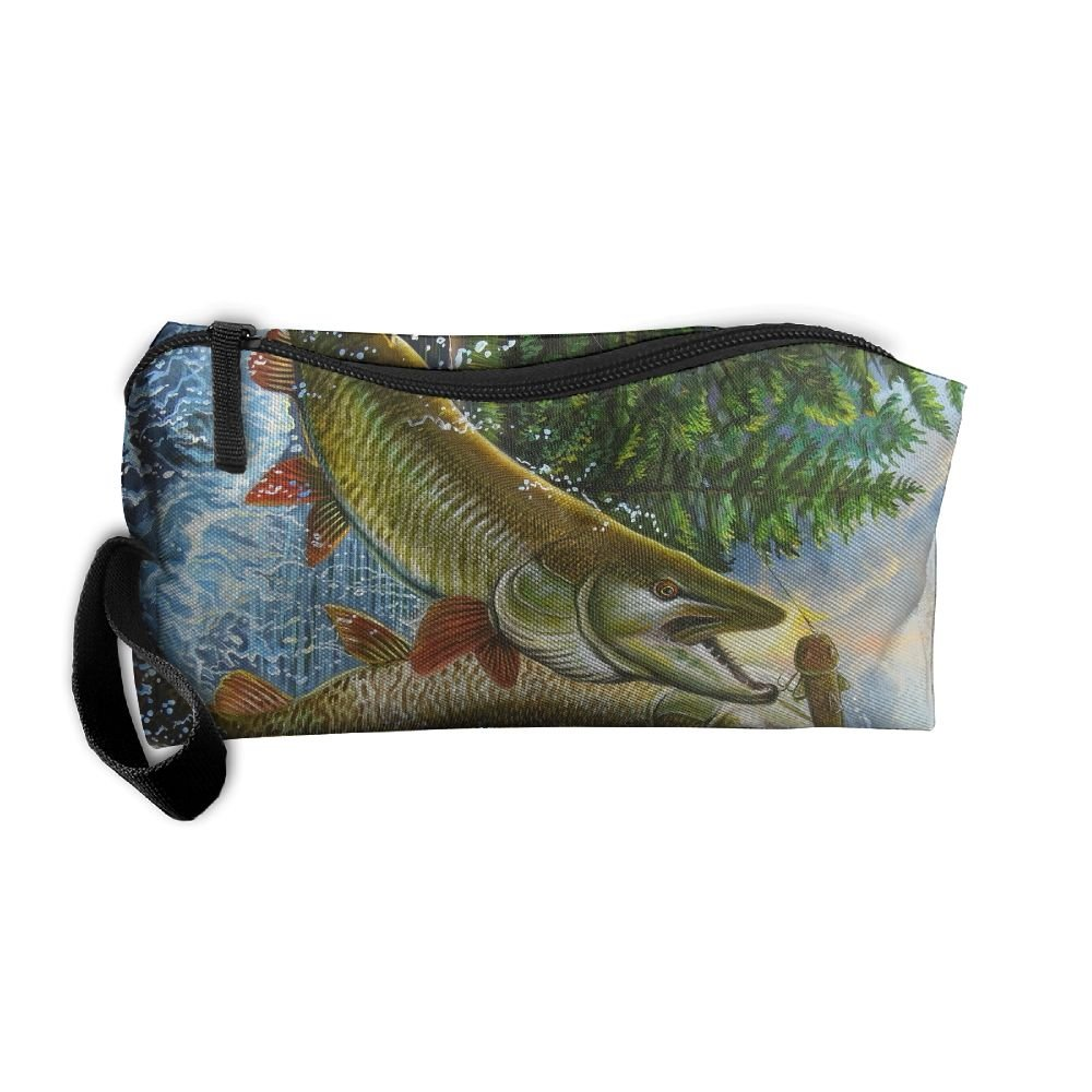 c51b34a265f2 hot sale Fish Jumping Oil Painting Pattern Makeup Bag Calico Girl ...