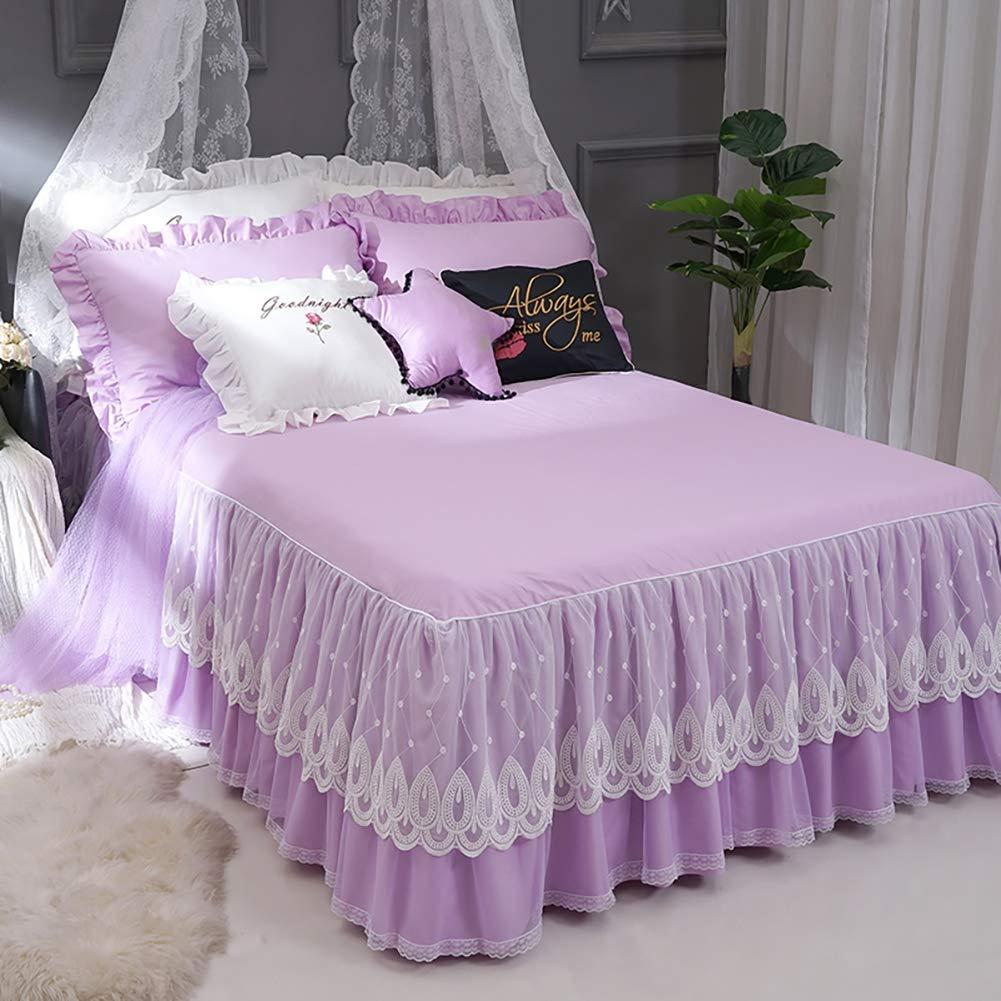 寝具ベッドカバー、豪華な3層フリル付きベッドスカートのデザイン、孔雀の羽の形をしたベッドスカート、合わせやすい、しわ防止/退色防止/ソフト/滑り止め,180x200cm(71x79inch) B07QZMCV27  180x200cm(71x79inch)