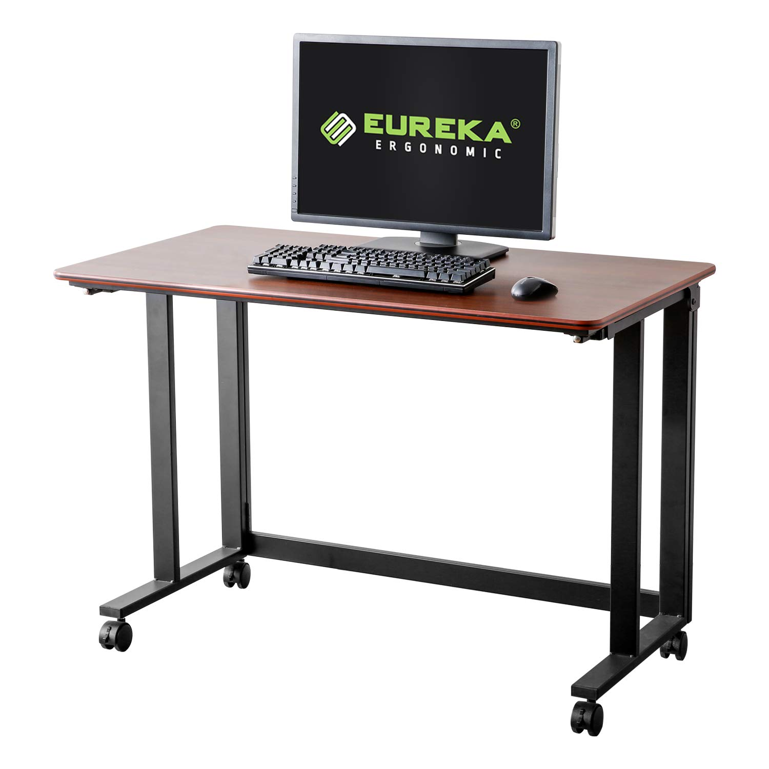 Eureka Ergonomic Rolling Desk, 43'' Mobile Utility Table Folding Desk with Four Lockable Wheels Large Work Space One Button to Fold No Assembly Required Cherry by Eureka Ergonomic