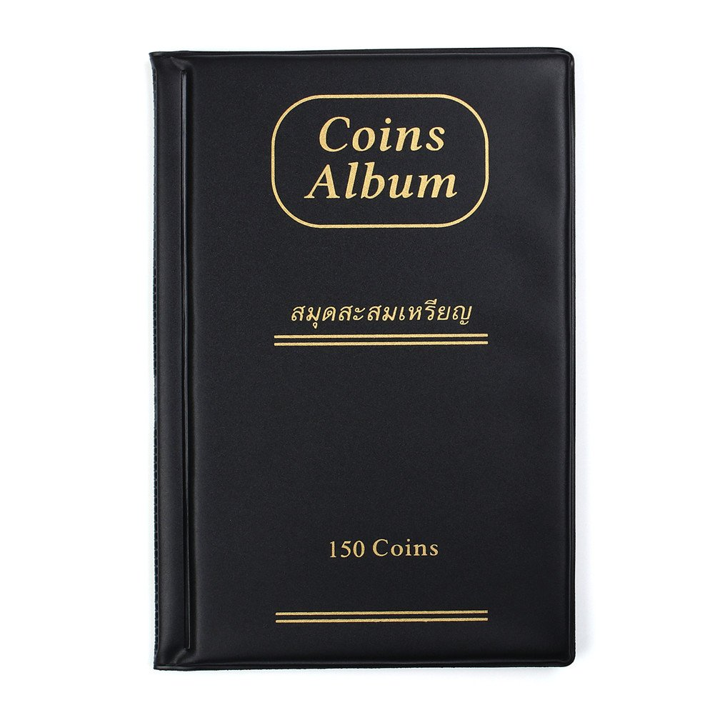 AITIME 150 Pockets Coin Collection Album, Coin Holder Book Suitable for Coin Diameter Less Than 1.65 inches Storage,Black