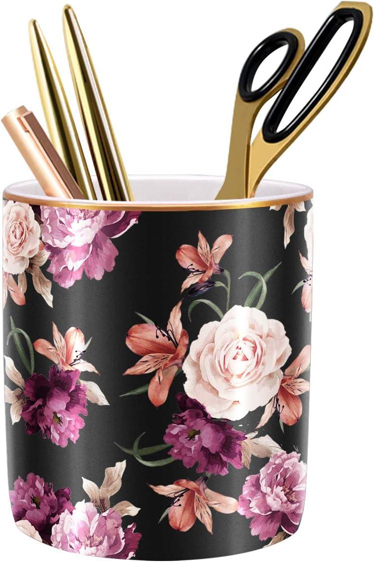 WAVEYU Pen Holder for Desk, Pencil Cup Holder for Desk, Cute Floral Makeup Brush Holder Durable Ceramic Flower Design Desk Pencil Organizer Ideal Gift for Office, Classroom, Black