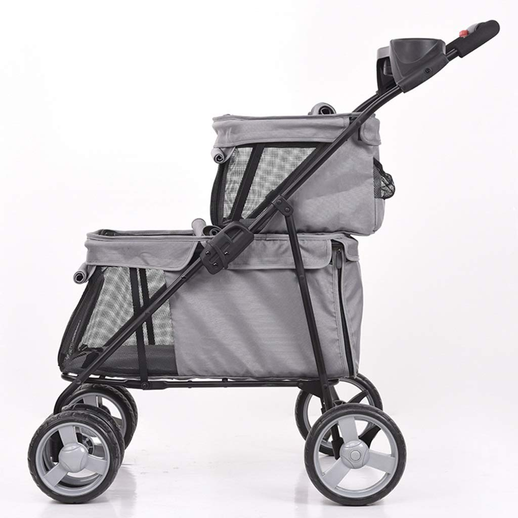 MZP Double Pet Roadster, Detachable Suspension Pushchair Wheels 360 Degree redatable Multi-Functional Dog Trolley Load Within 20kg Easy to Assemble