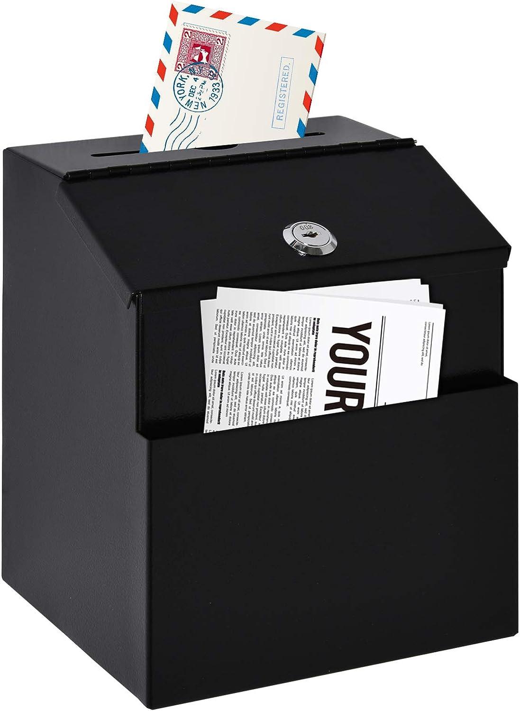 HOMCOM Vorschlagsbox Spendenbox Briefkasten zur Wandmontage Mailbox aus Stahl mit Schloss Sammelbox Schl/üsselbox Schwarz 15 x 18 x 22 cm