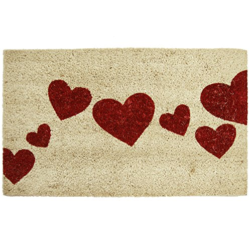 "Rubber-Cal ""Red Hearts"" Coir Entrance Mat, 18 x 30-Inch"