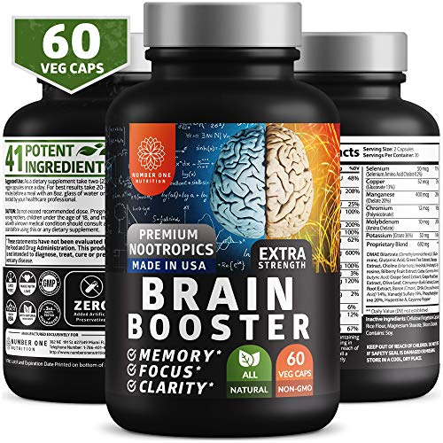 N1 Nutrition Brain Supplement Nootropics Booster - Enhances Memory, Concentration, Focus & Clarity - Premium Brain Booster with DMAE, Bacopa Monnieri, Gingko Biloba and Cayenne Pepper (60 Veggie Caps)
