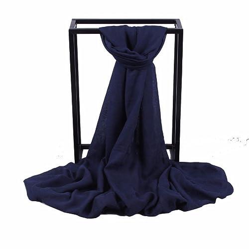 yall Dama Elegante Bufanda Nacional Cálido Viento Sombra Simple Mantón Grande, Negro, 180*90 Cm.