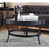 Ou0026K Furniture Round Coffee Table With Glass Top, Casual Occasional Table,  Sandy Black
