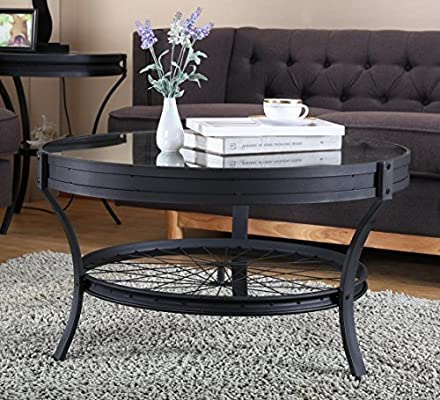 Amazon.com: Ou0026K Furniture Round Coffee Table With Glass Top, Casual  Occasional Table, Sandy Black: Kitchen U0026 Dining