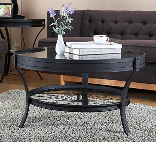 O&K Furniture Round Coffee Table with Glass Top, Casual Occasional Table, Sandy Black (Round Coffee Table Glass Top)