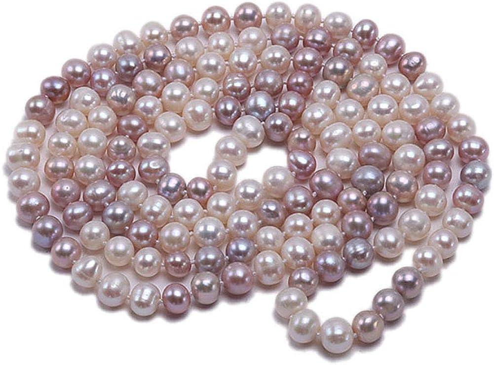 JYX Collar Largo de Perlas cultivadas en Agua Dulce de 8 a 9 mm, Collar de 47 Pulgadas
