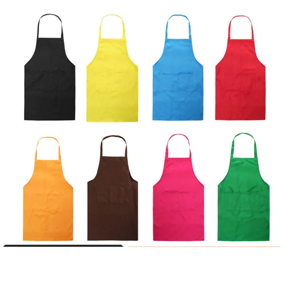 KIM DECO Rib apron Pvc Sleeveless Waterproof Oil-proof Neck strap Kitchen aprons Workshop Garden Painting Craft With pocket-blue 65x77cm(26x30inch)