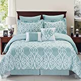 Dawson Reversible 6-Piece 100% Polyester Comforter Set, With Seafoam And White Ironwork Design In (King)