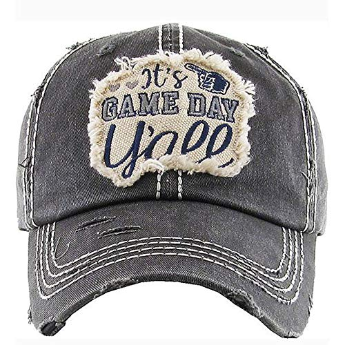 - Women's It's Game Day Y'all Vintage Baseball Hat Cap (Black)