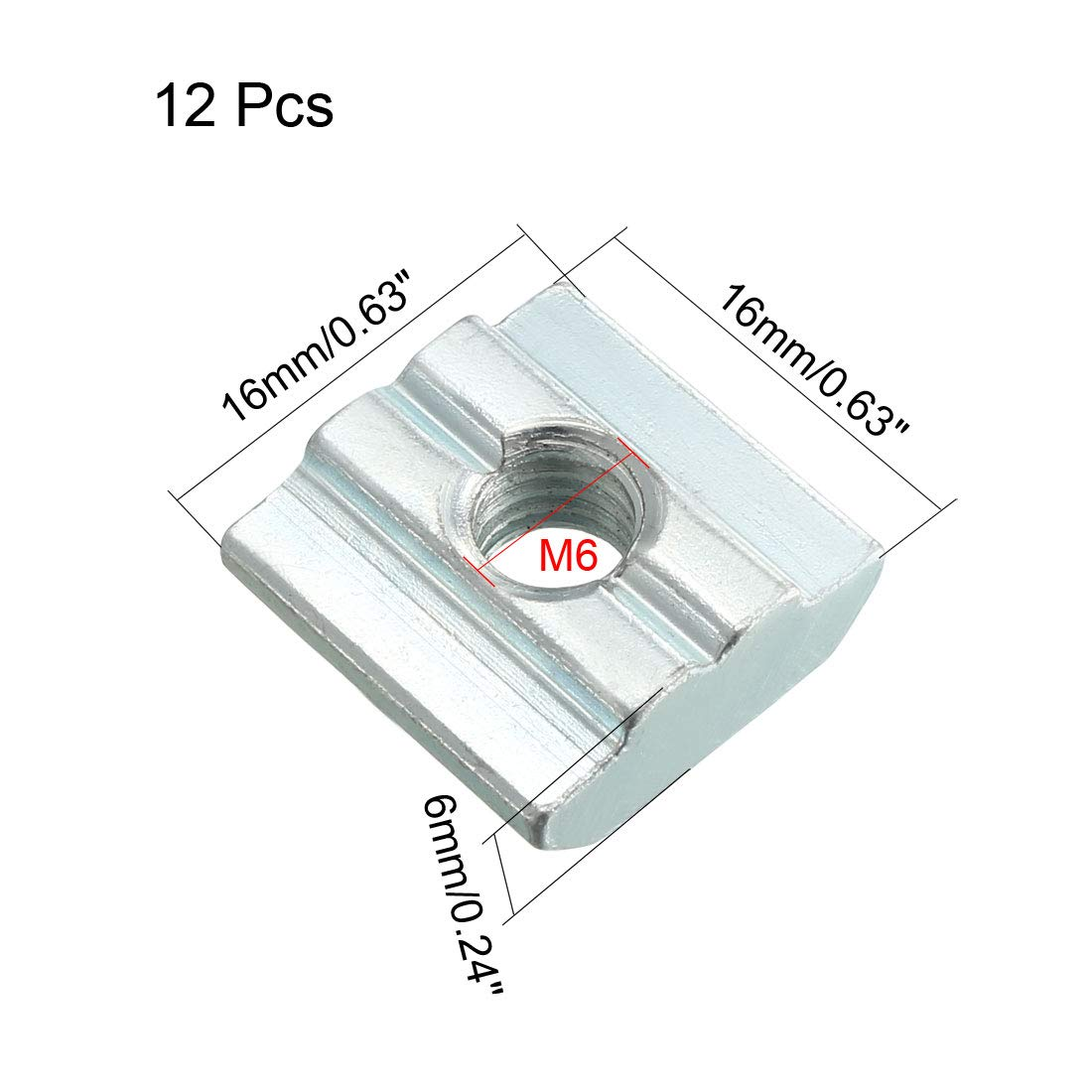 sourcing map Slide in T-Nut Pack of 12 M8 Threaded for 4040 Series Aluminum Extrusions Profile