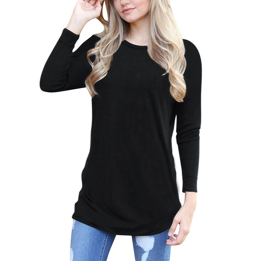 2017 New Top Blouse! Tootu Womens Casual Long Sleeve Vintage Knitted Sweater Long Blouse (M, Black)