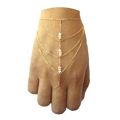 8179be557693a AMDXD Bijoux Bracelet Bague Femme Perle Chaîne Multicouche Plaqué Or  Bracelet Chaîne Bague
