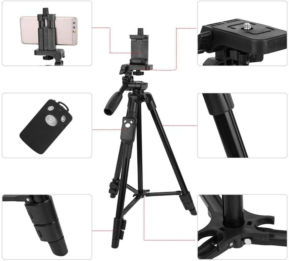 Vbestlife Multifunctional Tripod for Phone Panoramic Shooting Tripod Adjustable Stabilizer Standard 1//4 Screw Interface 3 Section Pipe with Wireless Remote Control Maximum Height 120cm
