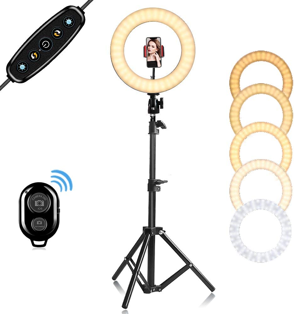 """Cyezcor 10"""" Selfie Ring Light with Tripod Stand, Dimmable Ring Light,for Personal Makeup, Portrait Photography, Live Lerformance, Video Chat, YouTube Video Shooting Compatible with iPhone Android"""