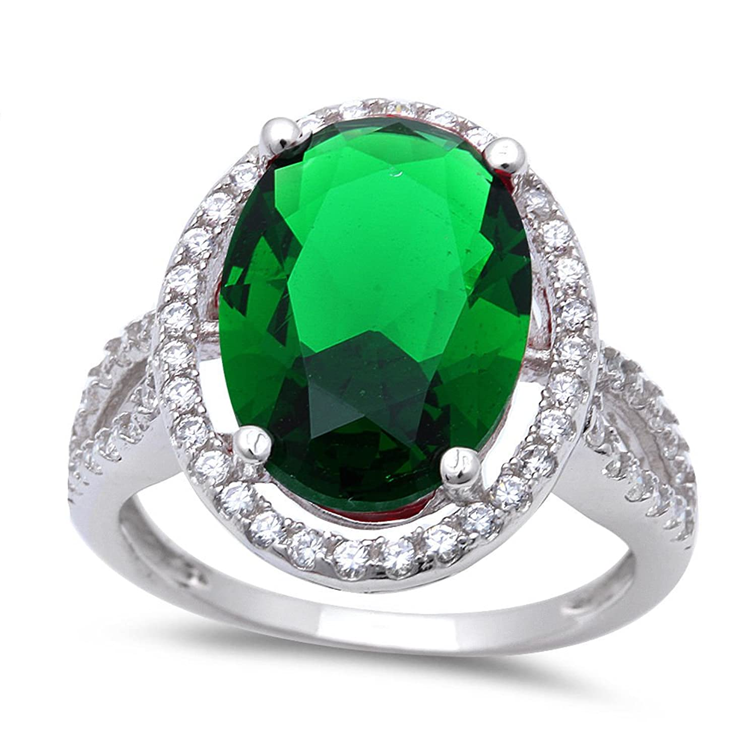 6ct Oval Cut Simulated Emerald & Cz .925 Sterling Silver Ring Sizes 6-9